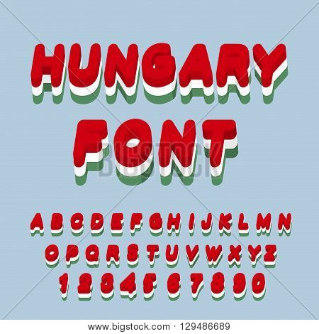 Hungary Font. Hungarian Flag On Letters. National Patriotic Alphabet. 3D Letter. State Color Symboli