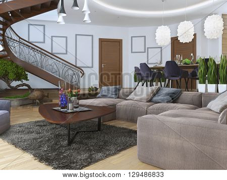 Living in a modern style with a spiral wooden staircase to the second level. Along the walls hang posters mockup. Under the stairs a green area with a bonsai. 3D render