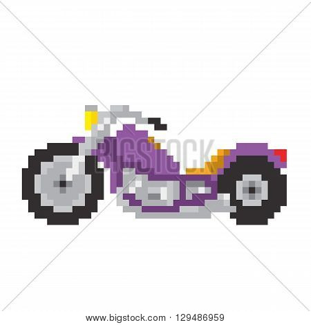 Chopper motorbike in pixel art style isolated vector