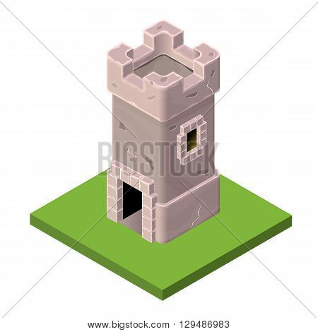 Isometric icon of medieval tower or prison. Vector illustration. Stone built fort or castle.
