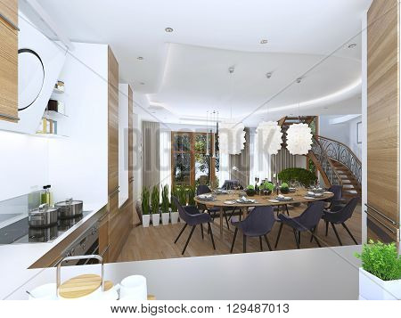 dining kitchen design in a modern style with a dining table and kitchen furniture. Wooden furniture in bright colors the chairs are upholstered with cloth eggplant color. Beautiful designer chandelier over the table. 3D render.