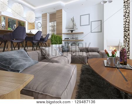 Modern living room in a loft style blending smoothly into the kitchen dining room. Large corner sofa shelves with decorations soft chair with a floor lamp and a big high fireplace with firewood. 3D render
