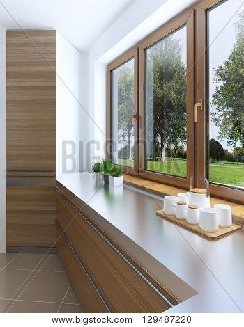 The design idea of the built-in refrigerator in the facade of a modern kitchen. A large window smoothly passing into the kitchen countertop. Facades of light wood. 3D render.