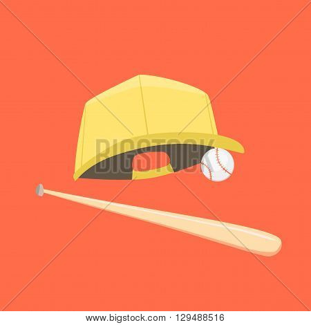 Baseball cap, ball and bat isolated on orange background. Vector illustration. Cartoon flat style