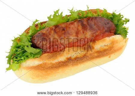 Crusty sausage sandwich with lettuce and tomato sauce isolated on a white background