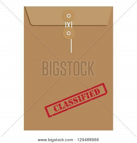 Vector illustration brown paper envelope sealed with string with red grunge rubber stamp with text classified