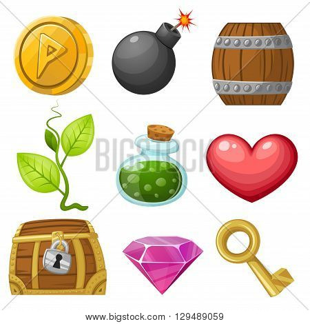 Stock Vector Illustration: Resource icons for games. Vector illustration. Pick up items set 1.