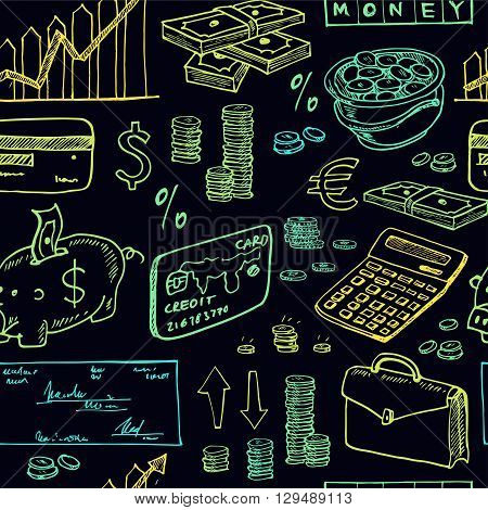 Hand drawn Finance seamless pattern . Isolated vector illustration for identity, design, decoration, packages product and interior decoration
