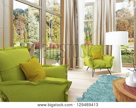 Contemporary living room with a sitting area with two chairs. Comfortable chairs in the style of kitsch green color with a coffee table and floor lamp white. 3D render.