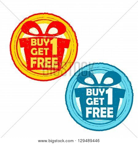 buy one get one free with gift signs - text in yellow red and blue drawn label with present box symbols business shopping concept
