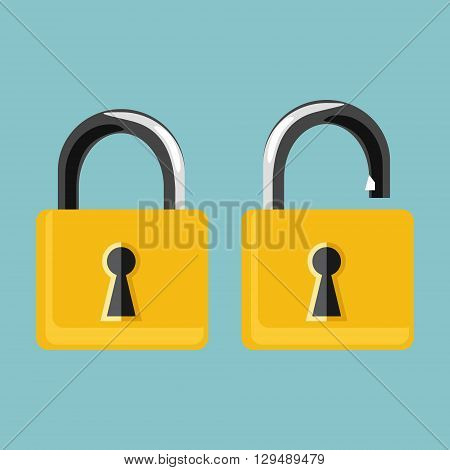 Vector illustration opened and closed golden locks on blue background. Lock icon set collection. Padlock