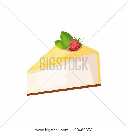 Cheesecake with raspberry on a white background. Vector illustration of baking. Isolated vector illustration on white background