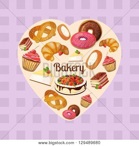 Premium collection of colorful tasty cakes and bakery in heart shape. Set of vector illustrations of desserts: cake with fruits and berries donuts pretzels tiramisu croissants cheesecake cupcake