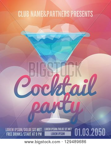 Cocktail party flyer. Club poster with a glass and a drink. Low polygon style vector illustrations. Template invitation to a beach party. Creative Party Flyer with date and time details.