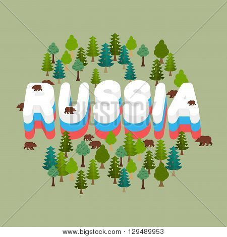 Russia. Wildlife Of Russian Federation. Letters Russian Flag. Bears In Forest. Text In Grove
