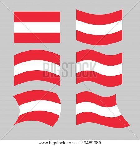 Austria Flag. Set Of Flags O Austrian Republic In Various Forms. Developing Austrian Flag European S