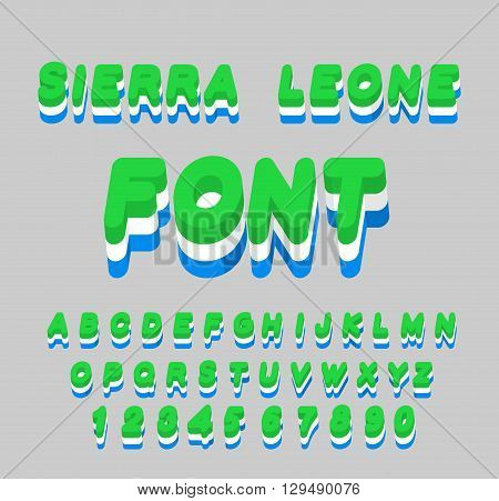 Sierra Leone Font. Sierra Leones Flag On Letters. National Patriotic Alphabet. 3D Letter. State Colo