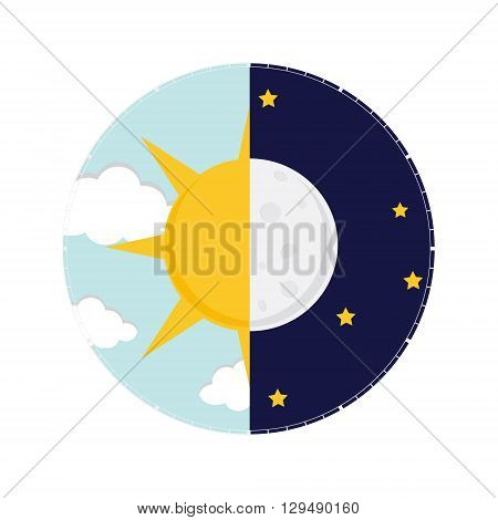 Vector illustration of day and night. Day night concept sun and moon day night icon