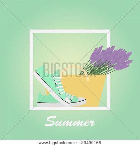 Mint Sneakers shoes, lavender, basket. Gumshoes. Summer. Lettering. Background.