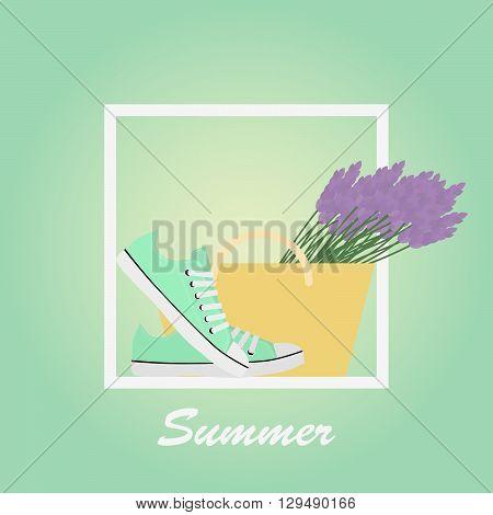 Mint Sneakers shoes, lavender, basket. Gumshoes. Summer. Lettering. Background.