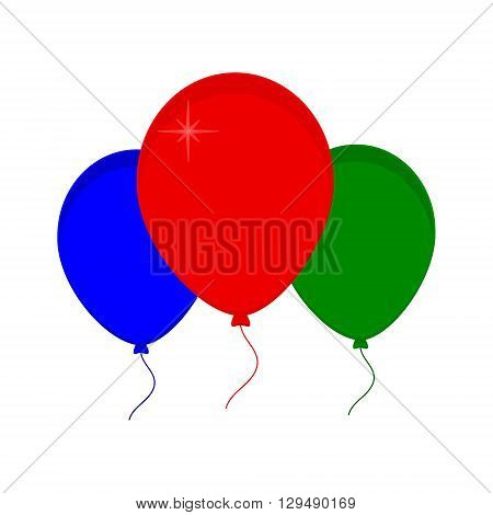 Vector illustration bunch of green red and blue party balloons. Balloon icon. Festive balloons