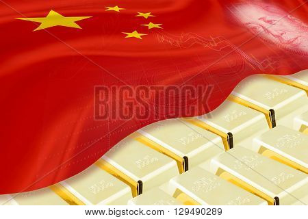 National and foreign currency / treasury / gold reserved concept : Stack of gold bars / ingots covered with flag of China and image of Mao Zedong stored in the vault / storage room . 3D illustration.