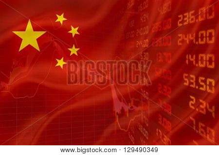 Flag of China with a simple downtrend chart of financial instruments and a display of daily stock market price and quotations.