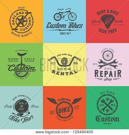 Retro Custom Bicycle Vector Labels or Logo Templates Set. Bike Symbols, Such as Chains, Wheels, Saddle, Bell, Wrench, etc. With Vintage Typography. On Colorful Squares.