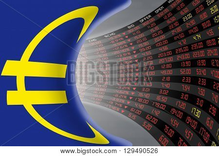 Flag of European Union with a large display of daily stock market price and quotations during economic recession period. The fate and mystery of EU stock market tunnel/corridor concept.