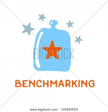 Benchmarking concept logo. Benchmark under a glass cover, vector icon
