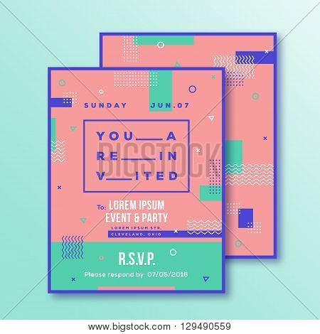 Event, Party Invitation Card Template. Modern Abstract Flat Style Background with Decorative Stripes, Zig-Zags and Typography. Pink, Mint Colors. Isolated. Soft Realistic Shadows.