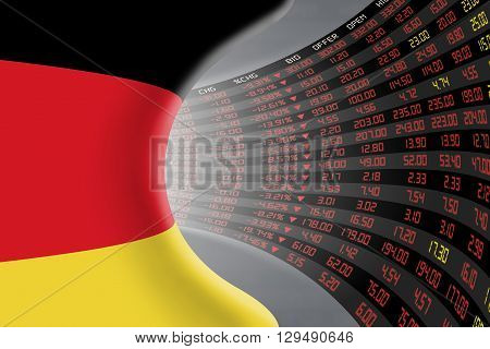 National flag of Germany with a large display of daily stock market price and quotations during economic recession period. The fate and mystery of German stock market tunnel/corridor concept.