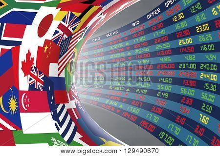 Flags of main countries in the world with a display of daily stock market price and quotations during normal economic period. The fate and mystery of world stock market tunnel/corridor concept.