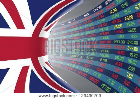 Flag of the United Kingdom with a large display of daily stock market price and quotations during normal economic period. The fate and mystery of the UK stock market tunnel/corridor concept.