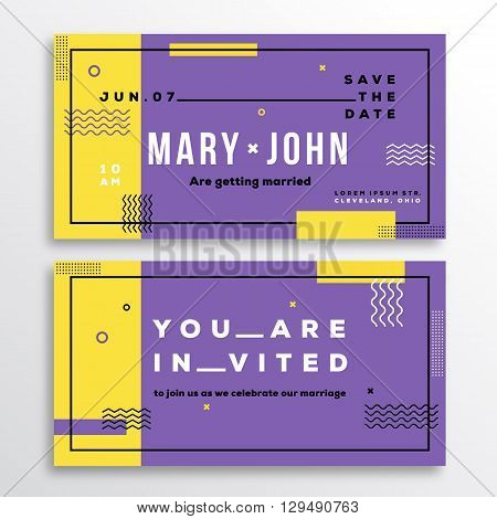 Wedding Invitation Card Template. Modern Abstract Flat Style Background with Decorative Stripes, Zig-Zags and Typography. Yellow, Violet Colors. Isolated. Soft Realistic Shadows.