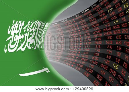 National flag of Saudi Arabia with a large display of daily stock market price and quotations during depressed economic period. The fate and mystery of Riyadh stock market tunnel/corridor concept.