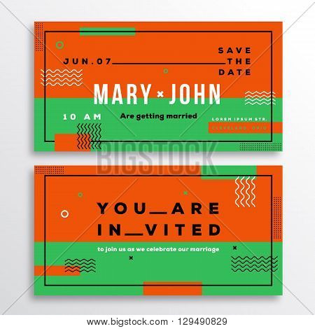 Wedding Invitation Card Template Ticket Shape. Modern Abstract Flat Style Background with Decorative Stripes, Zig-Zags and Typography. Orange, Green Colors. Isolated. Soft Realistic Shadows.