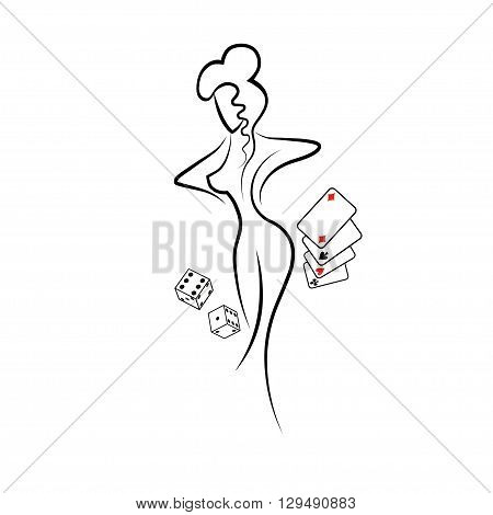 banner for xxx party with womans silhouette vector illustration