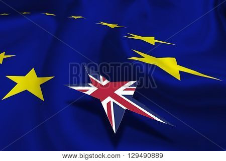 Brexit : Flag of EU and a circle of twelve gold (yellow) stars with small flag of UK floating over it. An in/out referendum and renegotiation of UK membership in EU which was pledged by Britain's PM.