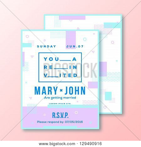 Wedding Invitation Card or Poster Template. Modern Abstract Flat Style Background with Decorative Stripes, Zig-Zags and Cool Typography. Pink, Mint Colors. Isolated. Soft Realistic Shadows.