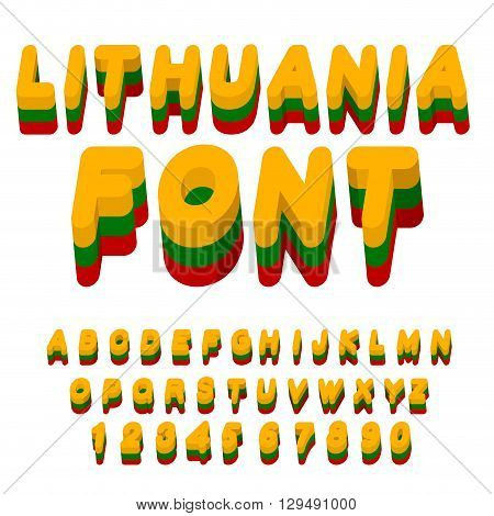 Lithuania Font. Lithuanian Flag On  Letters. National Patriotic Alphabet. 3D Letter. State Color Sym