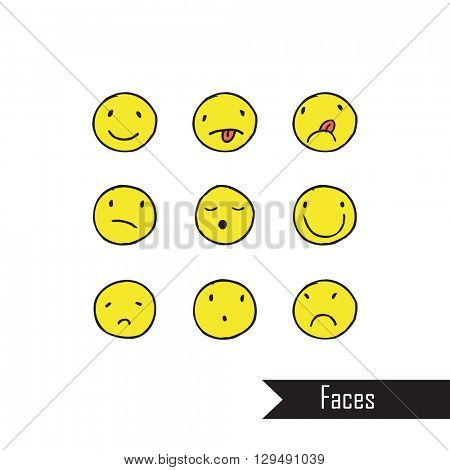 Hand drawn faces on white background Free hand drawings