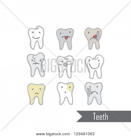 Hand drawn teeth on white background Different characters