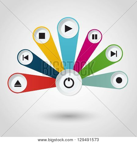 Imfographic with multimedia player buttons. Vector illustration.