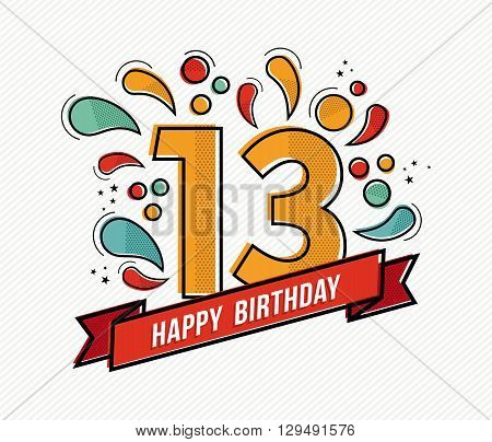 Colorful Happy Birthday Number 13 Flat Line Design