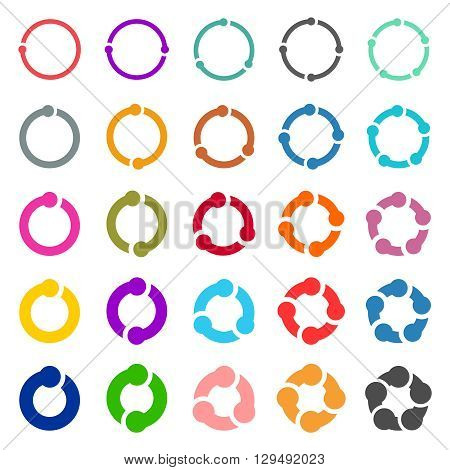 25 arrow pictogram refresh reload rotation loop sign set. Simple color web icon on white background. Vector illustration