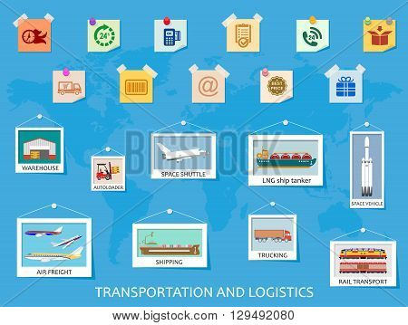 Logistics flat global transportation concept. Signs of transportation and ways of cargo delivery on the world map. Vector illustration