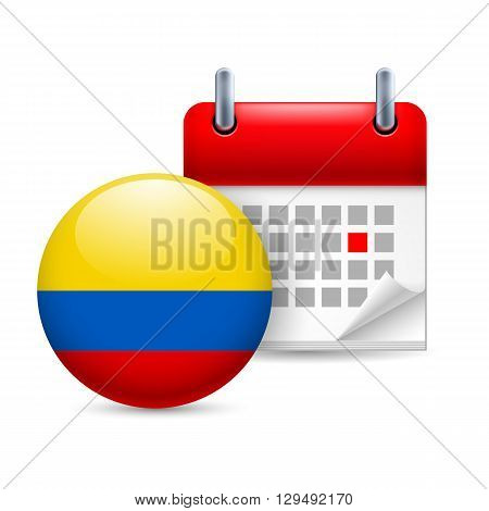 Calendar and round Colombian flag icon. National holiday in Colombia