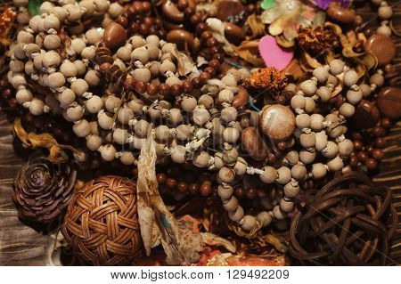 Wooden ethnic necklaces and bracelets close up