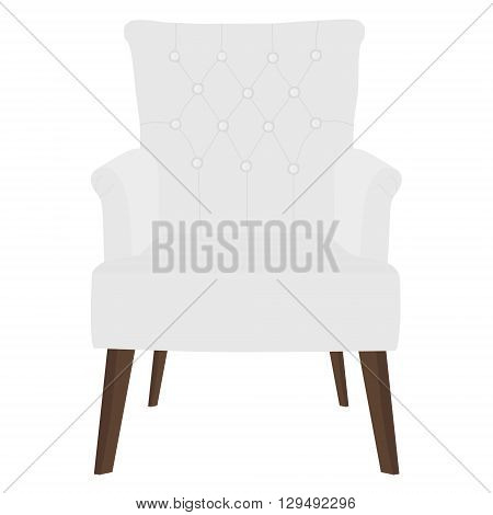 Vector illustration modern white armchair. Elegant realistic armchair